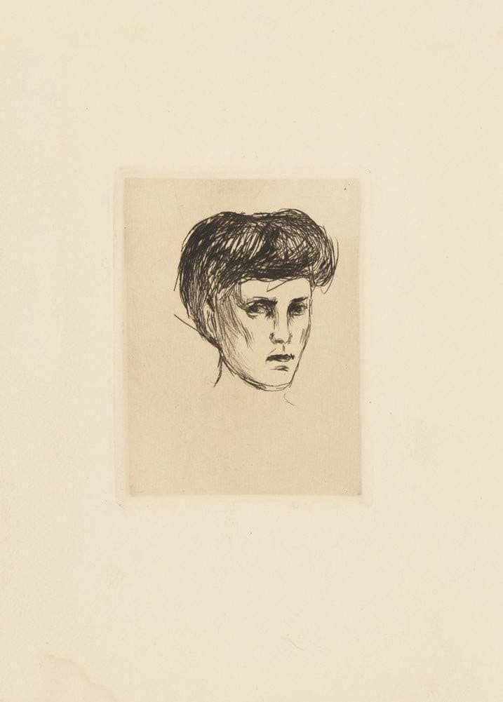 Edvard Munch 'Head of a Girl', Norway, 1907, Reproduction 200gsm A3 Vintage Classic Art Poster