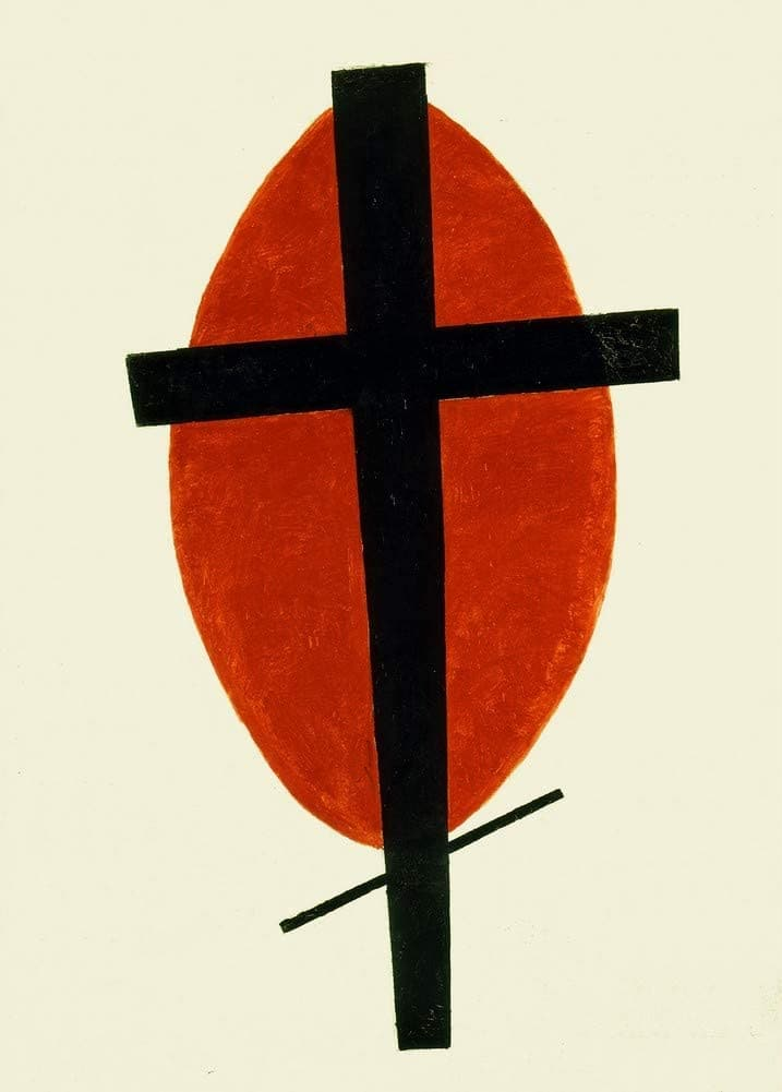 Kazimir Malevich 'Mystic Suprematism, Black Cross on Red Oval, Russia, 1920-22, Reproduction 200gsm A3 Vintage Classic Suprematism Poster