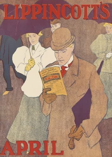 Vintage Literature 'Man with a Magazine', from 'Lippincotts', U.S.A, 1890-1900's, Reproduction 200gsm A3 Vintage Art Nouveau Poster