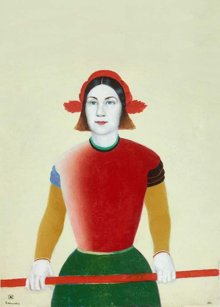 Kazimir Malevich 'Girl with a Red Pole', Russia, 1932-33, Reproduction 200gsm A3 Vintage Classic Suprematism Poster