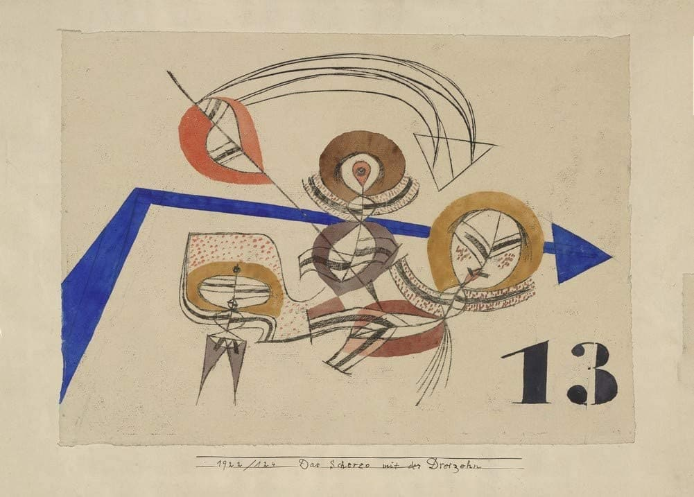 Paul Klee 'Joke with Thirteen', Swiss-German, 1922, Reproduction 200gsm A3 Abstract, Bauhaus Vintage Classic Art Poster