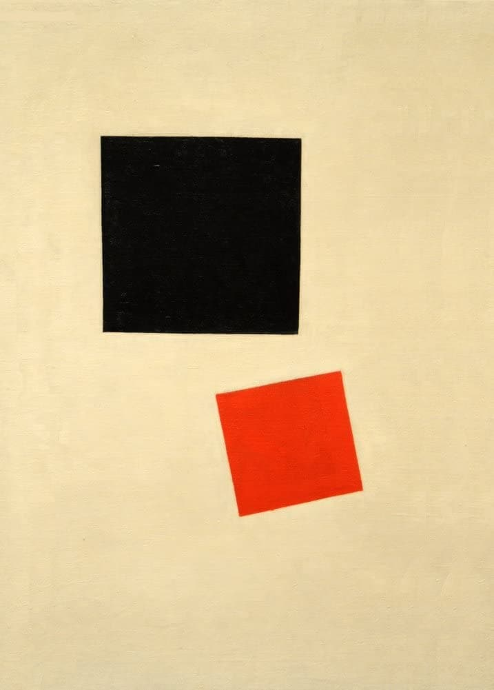 Kazimir Malevich 'Black Square and Red Square', Russia, 1915, Reproduction 200gsm A3 Vintage Suprematism Poster