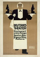 Ludwig Hohlwein 'Deutsches Theatre', Germany, 1907', Reproduction 200gsm A3 Vintage German Beers, Wines and Spirits Poster