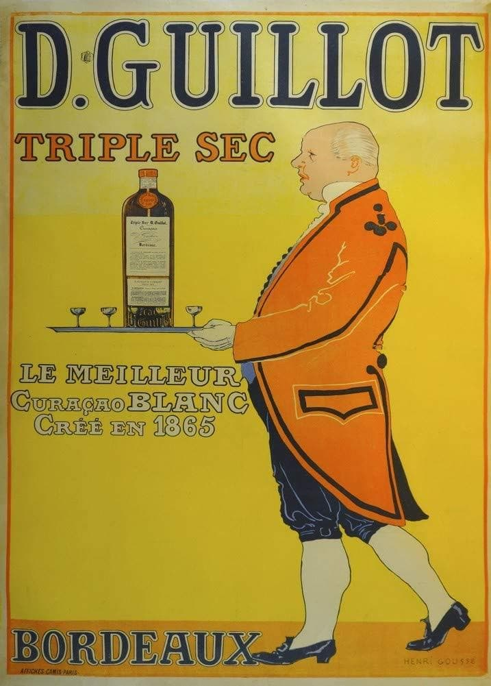 Vintage Beers, Wines and Spirits 'D, Guillot Triple Sec, France, 1895, Reproduction 200gsm A3 Vintage Poster