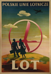 Vintage Travel Poland 'L.O.T Polish Aviation Line', 1948, Reproduction 200gsm A3 Vintage Travel Poster