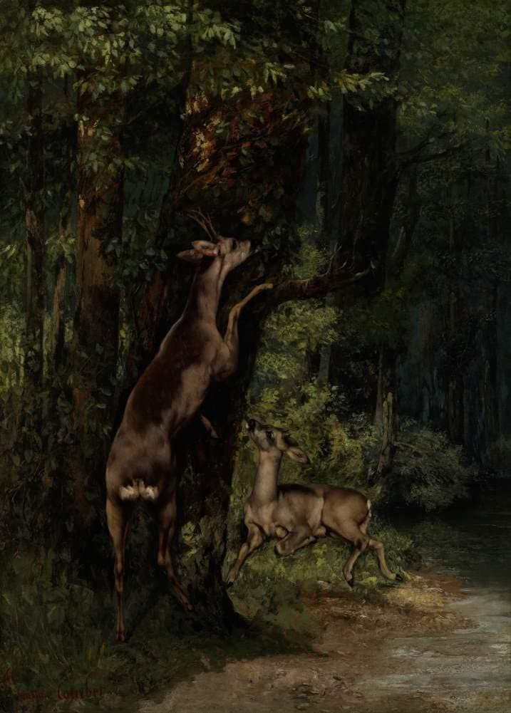 Gustave Courbet 'Deer in The Forest', France, 1868, Reproduction 200gsm A3 Vintage Classic Art Poster