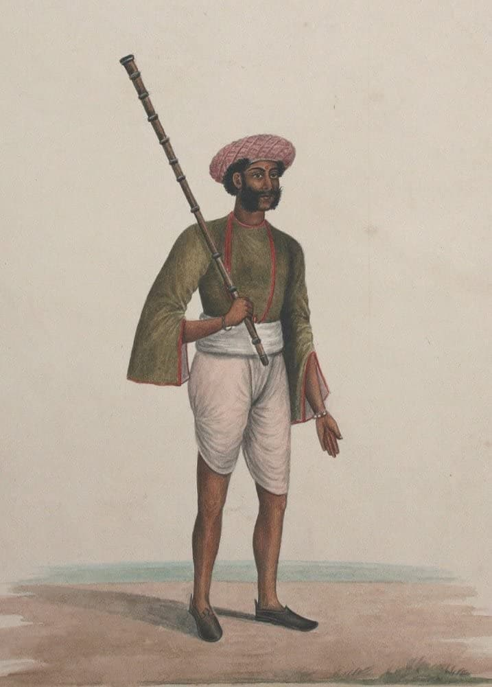 Classic Indian Art 'Staff Member of a Wealthy European Household', Studio of Shaikh Muhammad Mair of Karraya, Calcutta (Kolkata), Circa. 1840, Reproduction 200gsm A3 Vintage Poster