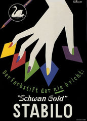 Vintage Stationery and Printing 'Stabilo Schwan Gold', Germany, 1920, Reproduction 200gsm A3 Vintage Art Deco Poster