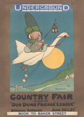 Vintage London Underground 'Our Dumb Friends Country Fair', 1913, by Mabel Lucie Attwell, Reproduction 200gsm A3 Classic English Travel Poster
