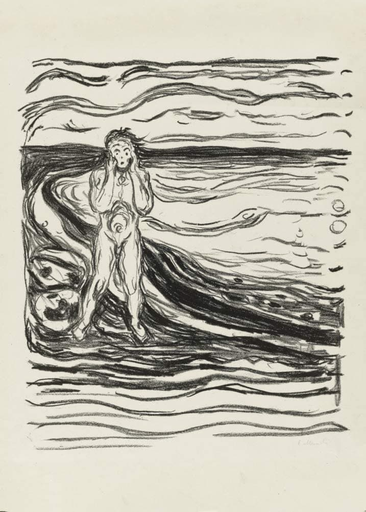 Edvard Munch 'Alpha's Despair', Norway, 1908-09, Reproduction 200gsm A3 Vintage Classic Art Poster
