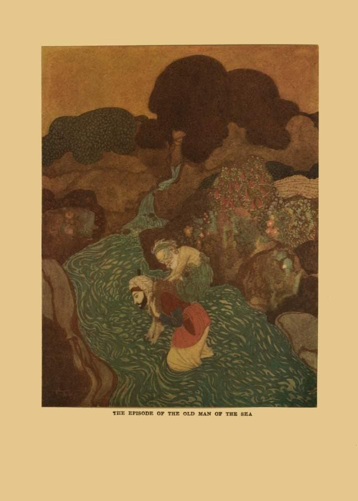 Edmund Dulac 'The Episode of The Old Man and The Sea', from 'Arabian Nights, One Thousand and One Nights', France, 1907, Reproduction 200gsm A3 Vintage Classic Art Poster