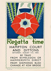 Vintage London Underground 'Regatta Time', 1923, Edward McKnight Kauffer, Reproduction 200gsm A3 Vintage Art Deco English Poster