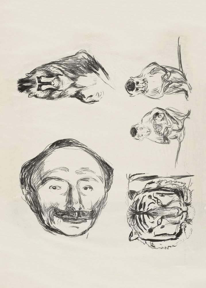 Edvard Munch 'Portrait of Goldstein, Gorilla, Family of Monkeys and Tiger's Head', Norway, 1908-09, Reproduction 200gsm A3 Vintage Classic Art Poster