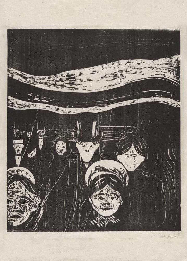 Edvard Munch 'Anxiety', Norway, 1896, Reproduction 200gsm A3 Vintage Classic Art Poster