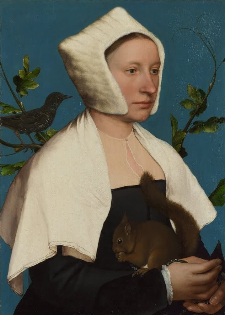 Hans Holbein The Younger 'A Lady with a Squirrel and a Starling', Germany, 1526-28, Renaissance, Reproduction 200gsm A3 Vintage Classic Art Poster