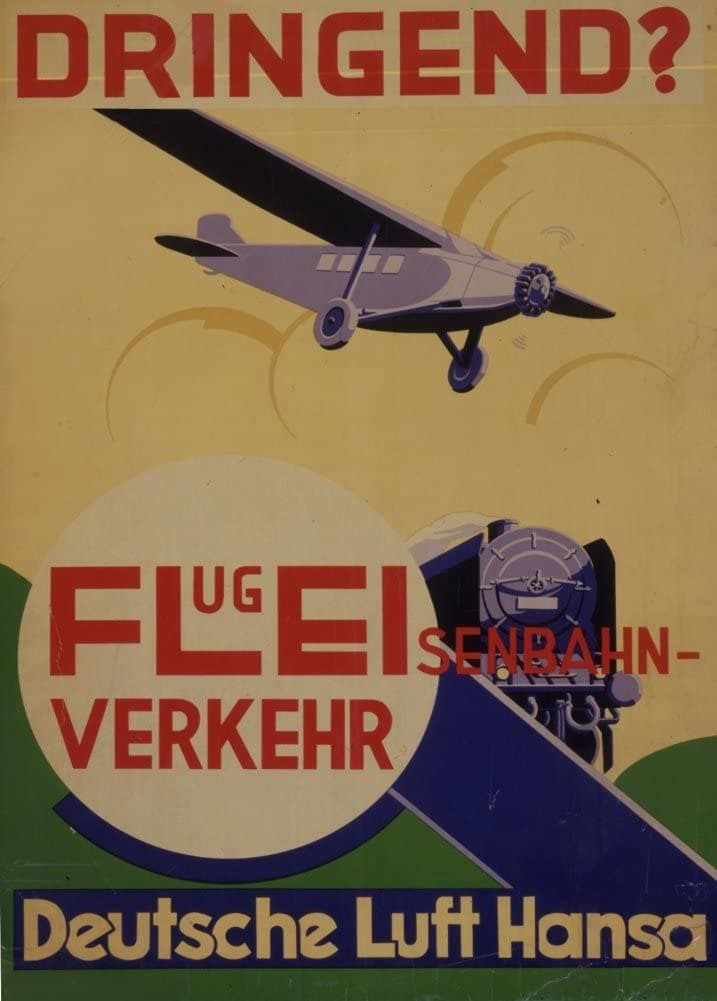 Vintage Travel Germany 'Deutsche Lufthanda if Urgent!', 1931, Reproduction 200gsm A3 Vintage Art Deco Travel Poster