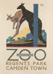 Vintage London Underground 'Regent's Park Zoo and Camden Town', by Gregory Brown, 1887-1941, Reproduction 200gsm A3 Vintage Art Deco English Poster