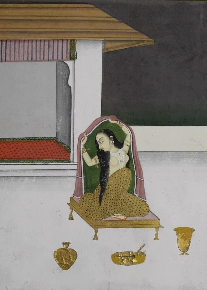 Classic Indian Art 'On A Palace Temple a Courtesan Dresses Herself After Washing her Hair', Jaipur, Circa. 1830-40, Reproduction 200gsm A3 Vintage Poster