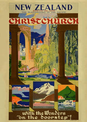 Vintage Travel New Zealand 'Christchurch and South Island. Playground of The Pacific with New Zealand Railways', 1935, Reproduction 200gsm A3 Vintage Art Deco Travel Poster