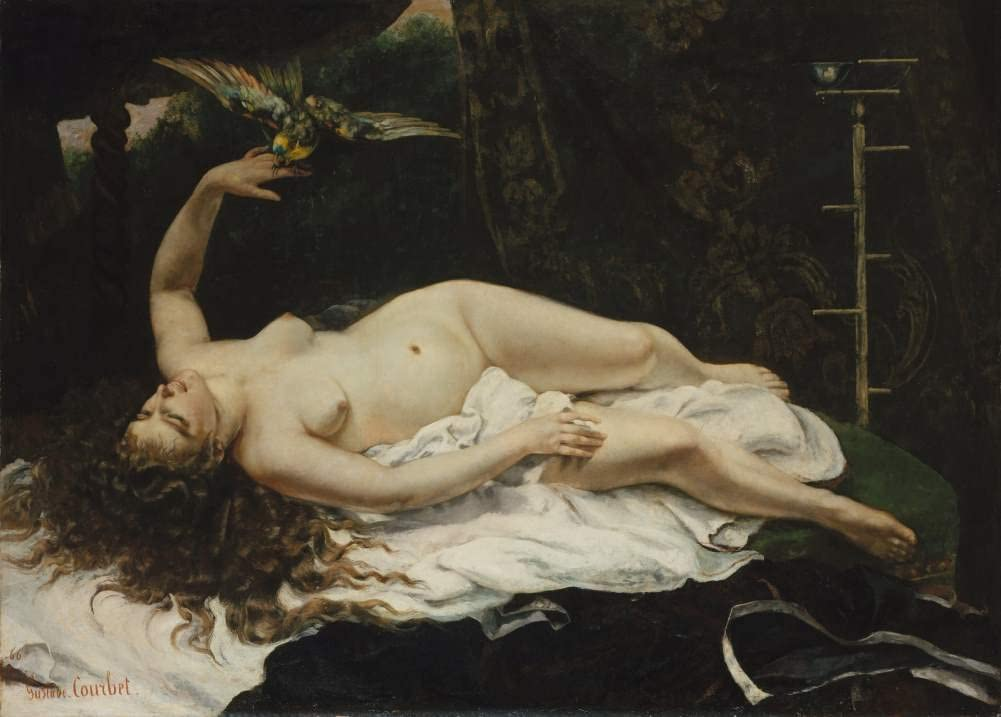 Gustave Courbet 'Woman with a Parrot', France, 1867, Reproduction 200gsm A3 Vintage Classic Art Poster