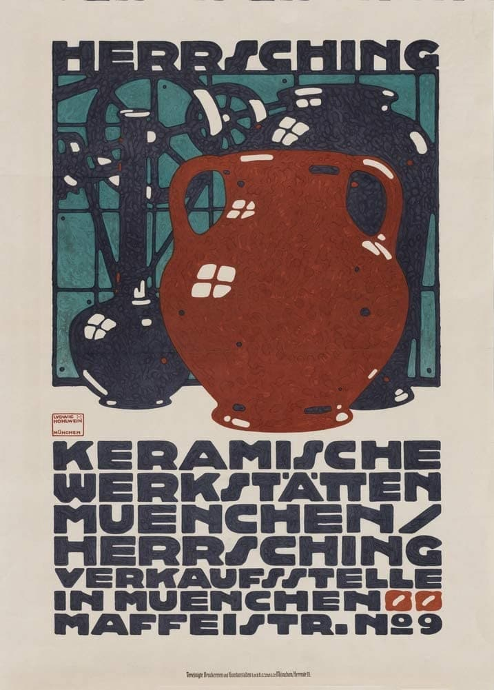 Ludwig Hohlwein 'Herr Sching Keramische Werkstatten', Germany, 1910, Reproduction 200gsm A3 Vintage Pottery and Ceramics Poster