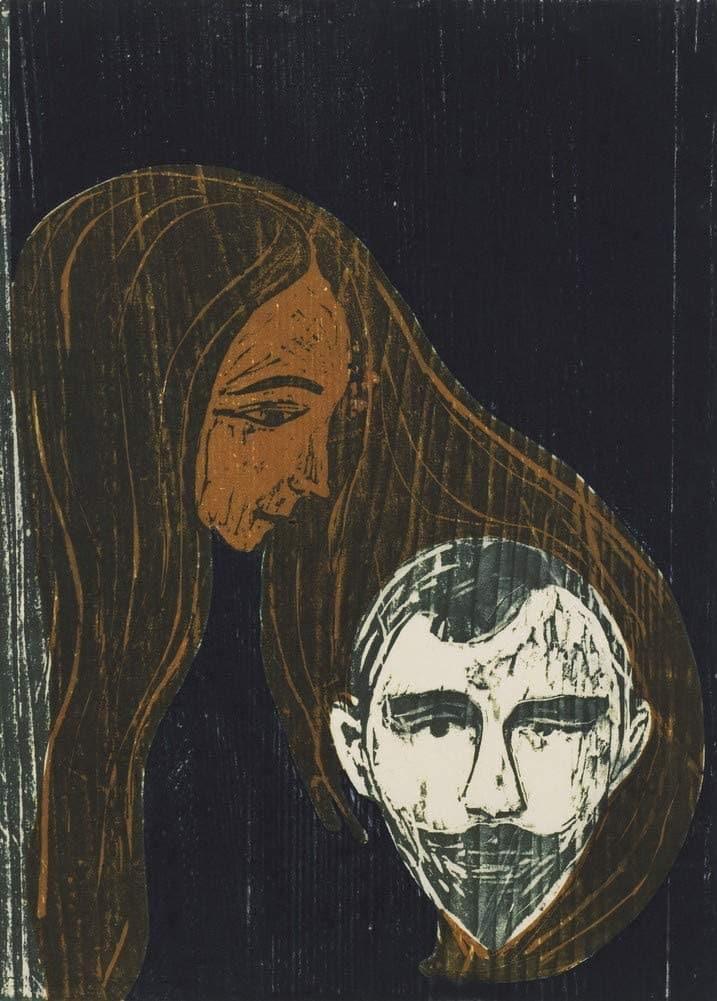 Edvard Munch 'Man's Head in Woman's Hair', Norway, 1896, Reproduction 200gsm A3 Vintage Classic Art Poster