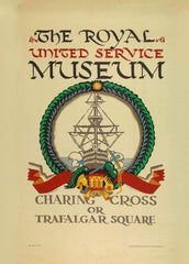 Vintage London Underground 'Royal United Service Museum', 1921, Edward McKnight Kauffer, Reproduction 200gsm A3 Vintage Art Deco English Travel Poster