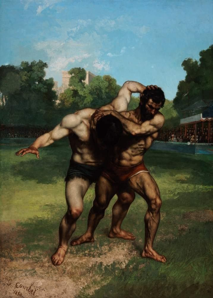 Gustave Courbet 'The Wrestlers', France, 1853, Reproduction 200gsm A3 Vintage Classic Art Poster