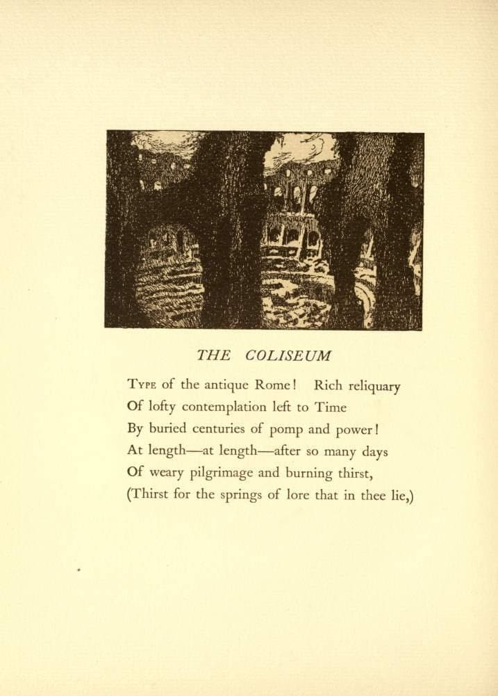 Edgar Allan Poe 'The Coliseum' from 'The Bells and Other Poems', Illustration by Edmund Dulac, 1912, Reproduction Vintage 200gsm A3 Classic Poster