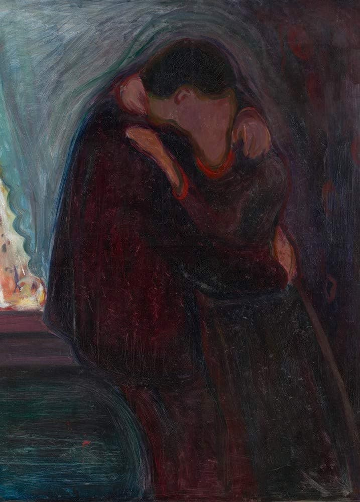 Edvard Munch 'Kiss', Norway, 1897, Reproduction 200gsm A3 Vintage Classic Art Poster