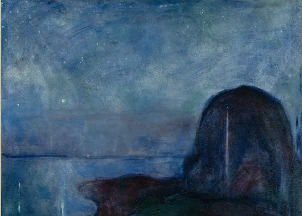 Edvard Munch 'Starry Night, Detail', Norway, 1893, Reproduction 200gsm A3 Vintage Classic Art Poster