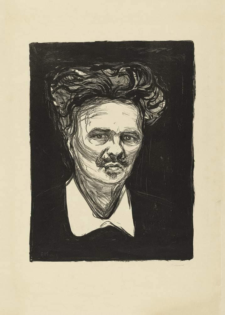 Edvard Munch 'Portrait of August StrindBerg', Norway, 1896, Reproduction 200gsm A3 Vintage Classic Art Poster