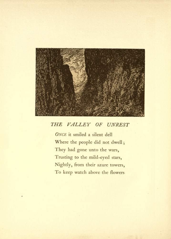 Edgar Allan Poe 'The Valley of The Unrest', from 'The Bells and Other Poems', by Edmund Dulac, 1912, Reproduction Vintage 200gsm A3 Classic Poster
