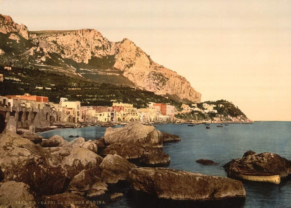 Vintage Travel Italy 'The Town, Capri Island', Circa. 1890-1910, Reproduction 200gsm A3 Vintage Travel Photography Poster