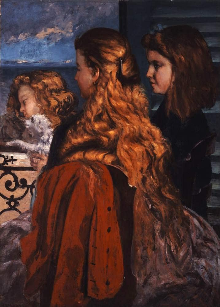 Gustave Courbet 'Three Young Englishwomen by a Window', France, 1865, Reproduction 200gsm A3 Vintage Classic Art Poster