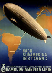 Vintage Travel Germany 'Zeppelin for South America in Three Days', 1937, Reproduction 200gsm A3 Vintage Art Deco Poster