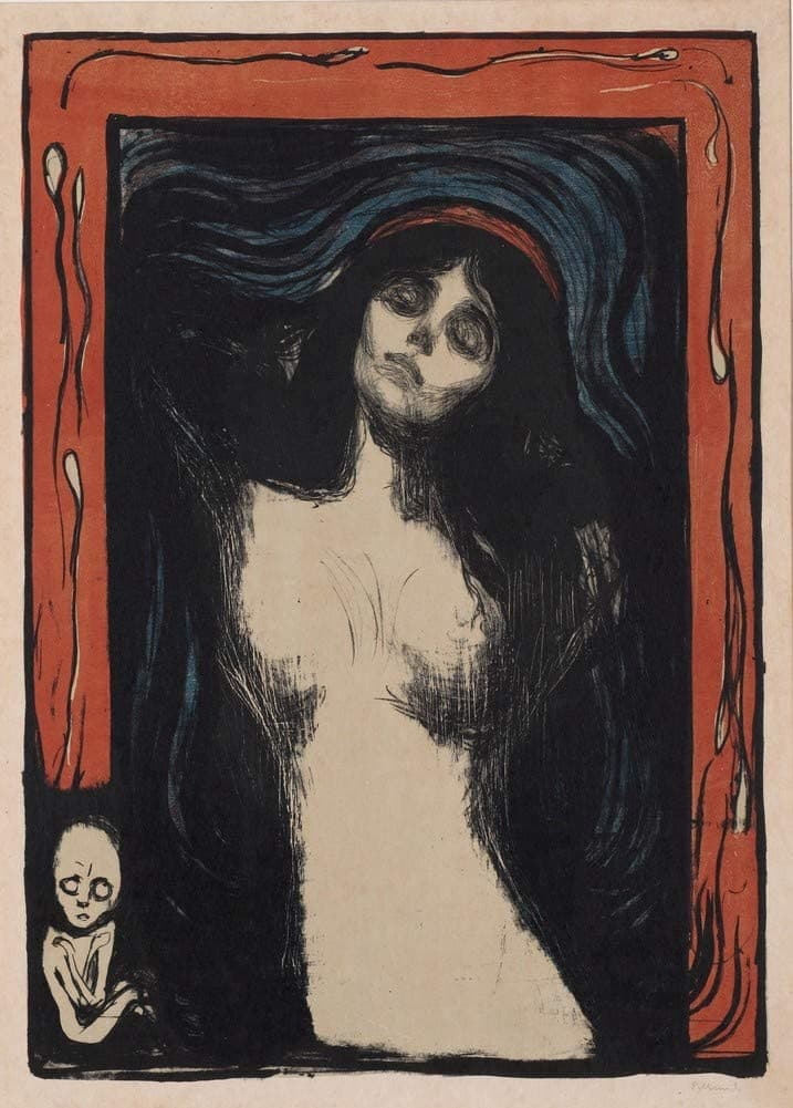 Edvard Munch 'Madonna with Strange Figure', Norway, 1894, Reproduction 200gsm A3 Vintage Classic Art Poster