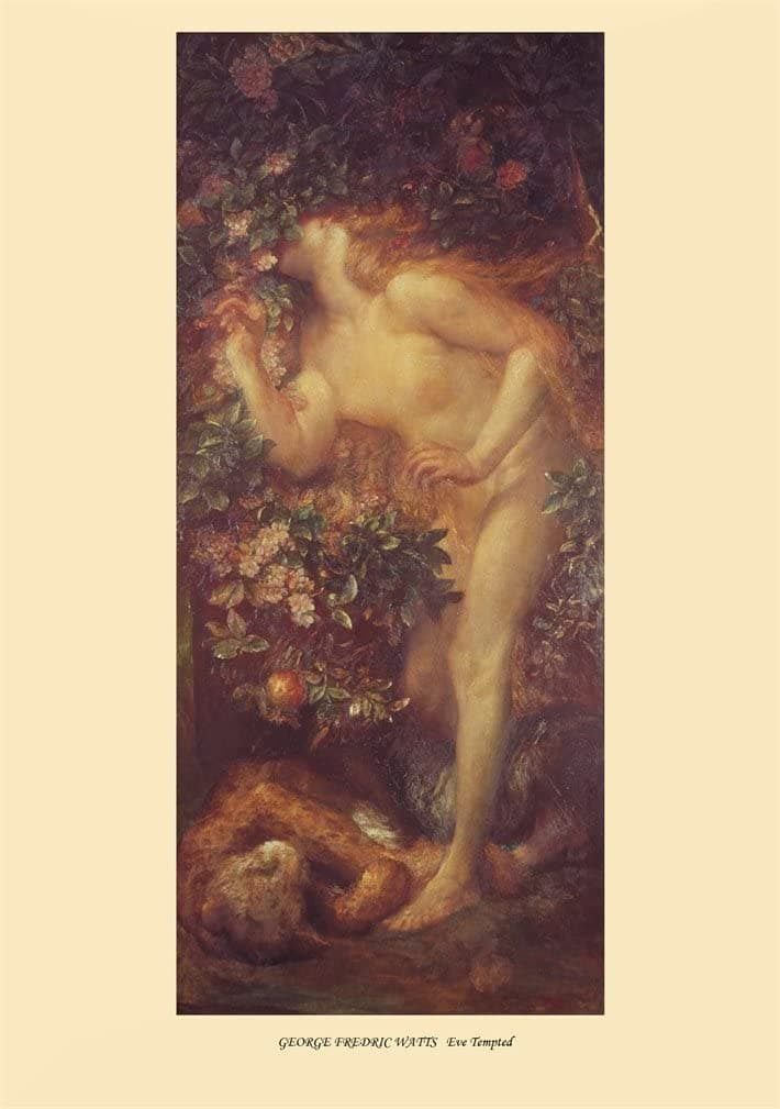 George Frederic Watts 'Eve Tempted', England, 1884, Reproduction 200gsm A3 Vintage Classic Art Poster