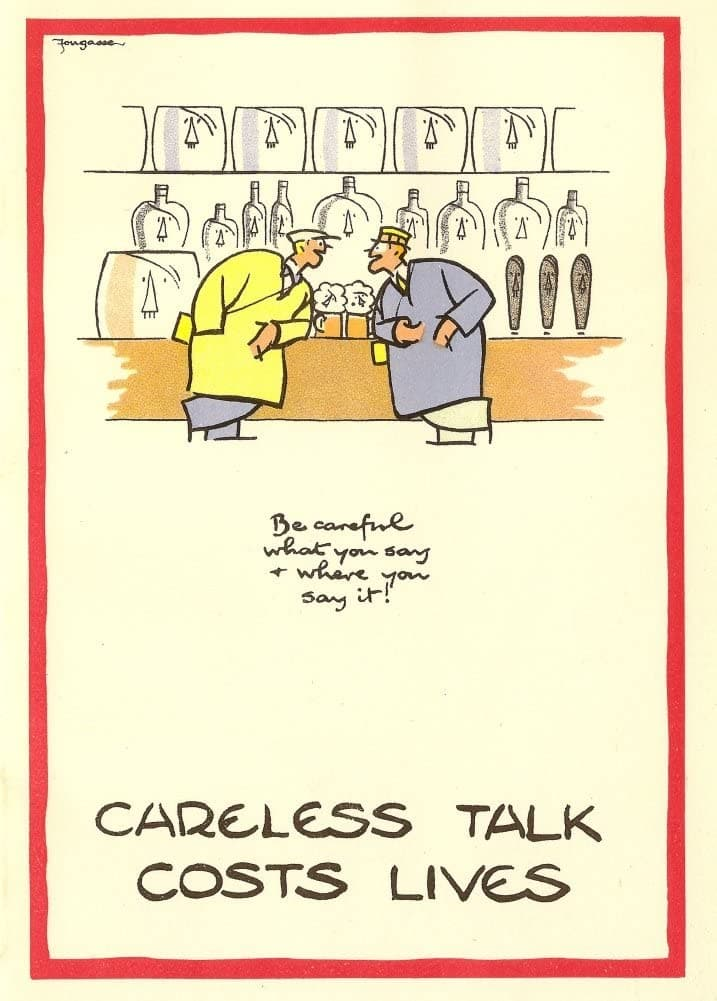 Vintage British WW11 Propaganda 'Careless Talk Costs Lives', England, 1939-45, Reproduction 200gsm A3 Vintage British Propaganda Poster