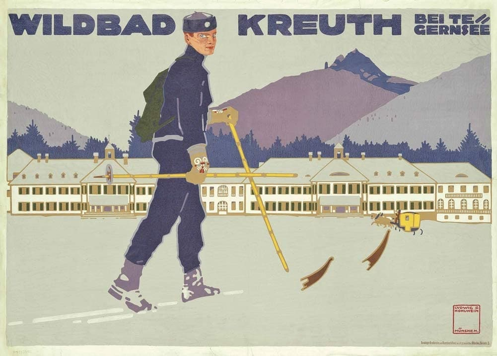 Ludwig Hohlwein 'Wilbad-Kreuth', Germany, 1912, Reproduction 200gsm A3 Vintage German Ski Travel Poster
