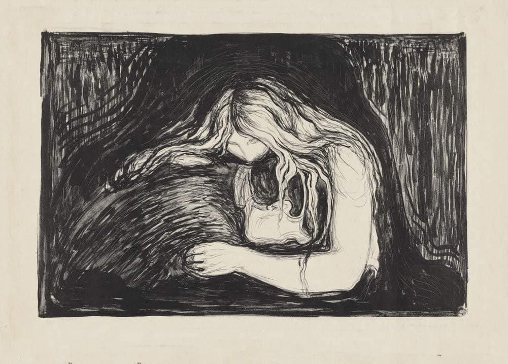 Edvard Munch 'Vampire', Norway, 1895, Signed 1897, Reproduction 200gsm A3 Vintage Classic Art Poster