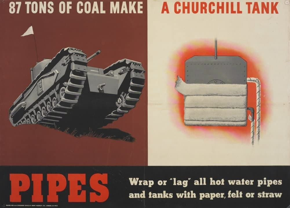 Vintage British WW11 Propaganda 'A Churchill Tank. Eighty-Seven Tons of Coal to Make One', England, 1939-45, Reproduction 200gsm A3 Vintage British Propaganda Poster