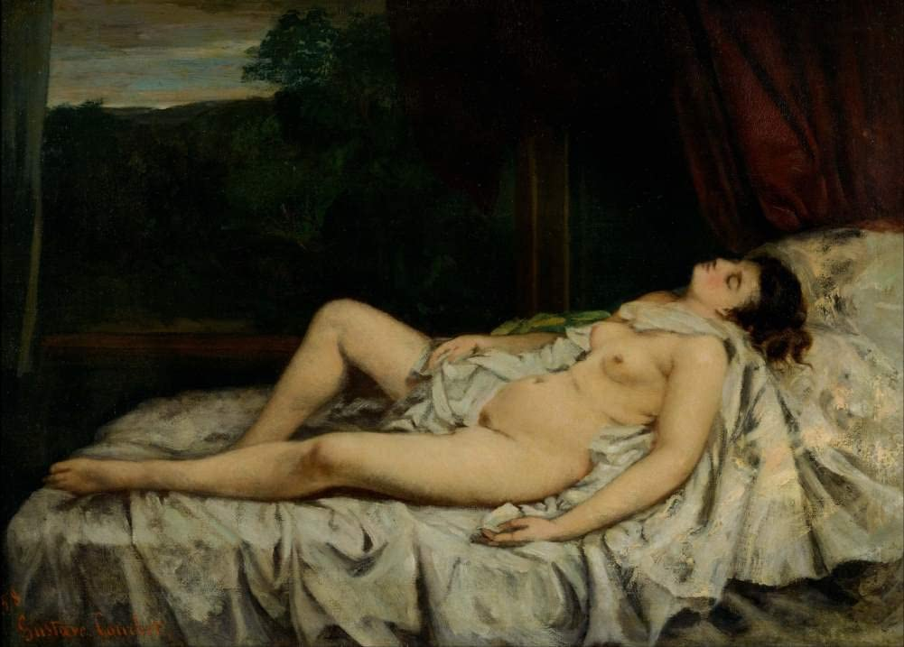 Gustave Courbet 'Sleeping Nude', France, 1858, Reproduction 200gsm A3 Vintage Classic Art Poster