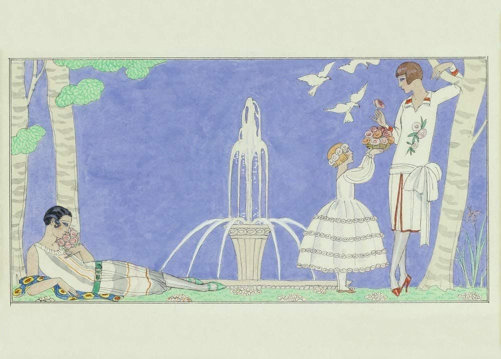 George Barbier 'Resting by The Fountain', France, Reproduction 200gsm A3 Vintage Classic Art Deco Poster