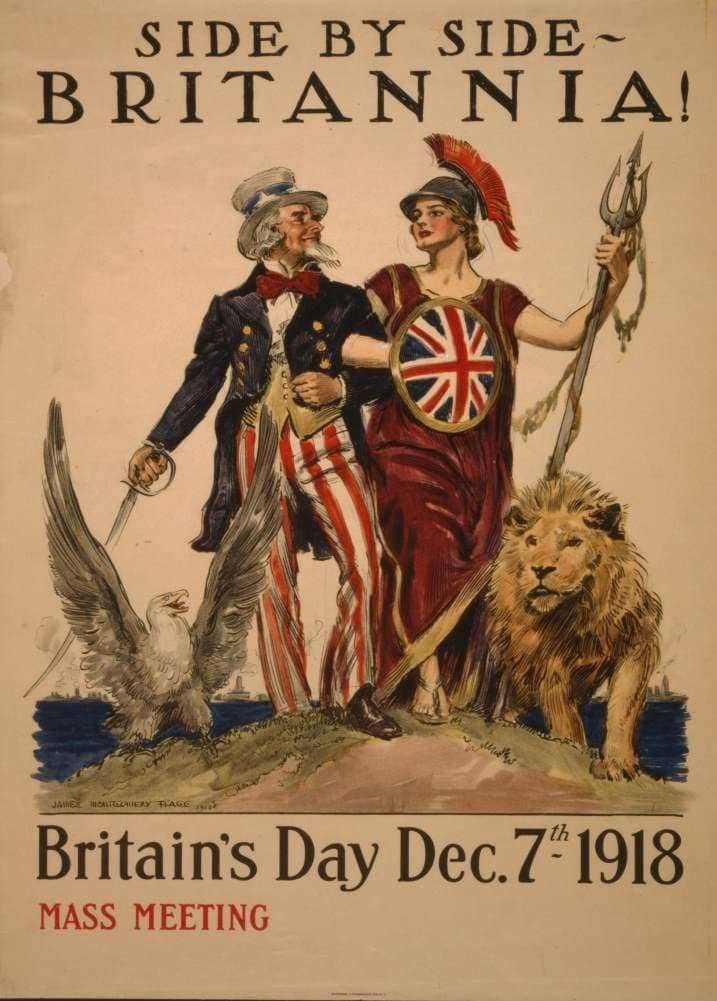 Vintage British WW1 Propaganda 'Britannia. Side by Side. Britain's Day', England, 1914-18, Reproduction 200gsm A3 Vintage British Propaganda Poster