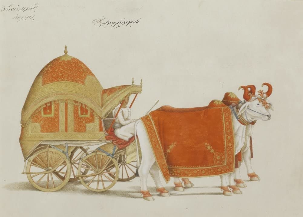 Classic Indian Art 'The Bullock-Drawn Carriage of Mughal Prince Mirza Babur', Delhi, Circa. 1815-1819, Reproduction 200gsm A3 Vintage Poster