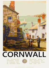 Vintage Travel England 'Cornwall with Great Western Railway', 1930's, Reproduction 200gsm A3 Vintage Art Deco Travel Poster