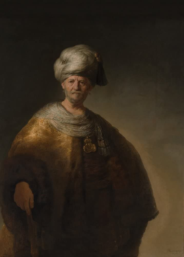 Rembrandt 'Man in Oriental Costume. The Noble Slav', Netherlands, 1632, Reproduction 200gsm A3 Vintage Classic Art Poster