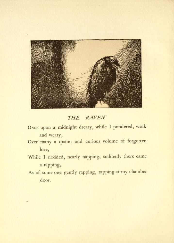 Edgar Allan Poe 'The Raven', First Verse from 'The Bells and Other Poems', Illustration by Edmund Dulac, 1912, Reproduction 200gsm A3 Vintage Classic Art Poster