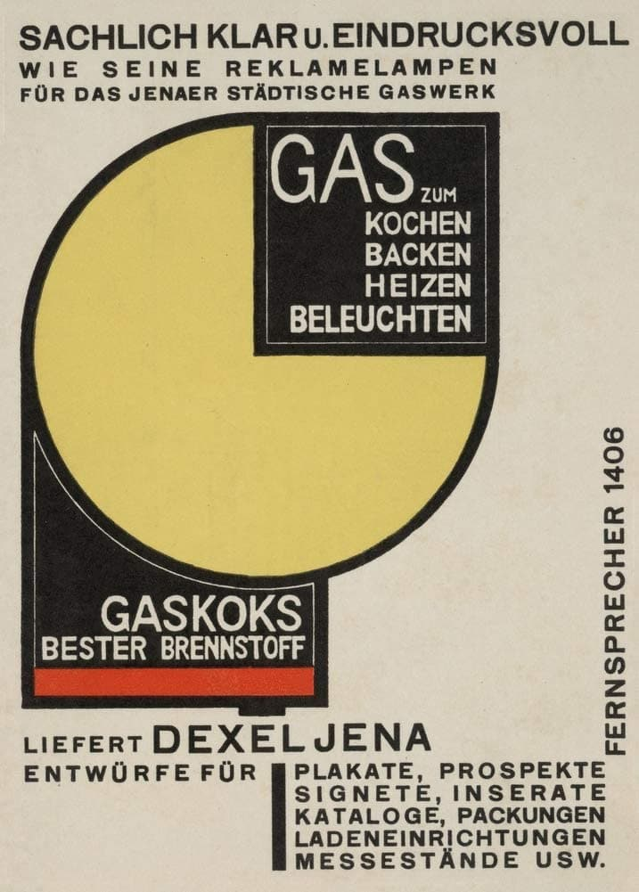 Vintage Bauhaus 'Gas for Cooking, Baking, Heat, Light', Germany, 1924, Walter Dexel, Reproduction 200gsm A3 Vintage Bauhaus Poster
